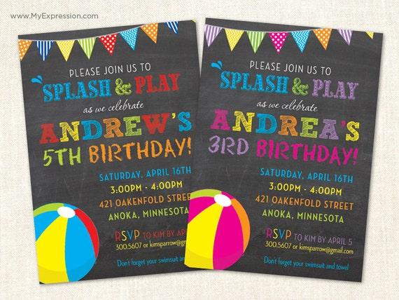 beach ball chalkboard birthday invitations girl or boy pool, Birthday invitations