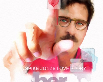 "HER -  Spike Jonze, Joaquin Phoenix  -  24""x36""  Movie Poster - Free Shipping in United States."