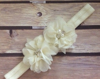Ivory headband, cream headband, halo, flower headband, white headband, chiffon headband, baptism, christening, flower girl, wedding headband