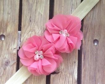 Sophia headband, pink headband, elastic headband, ivory headband, soft pink headband, baby headband, flower girl headband, flower girl,