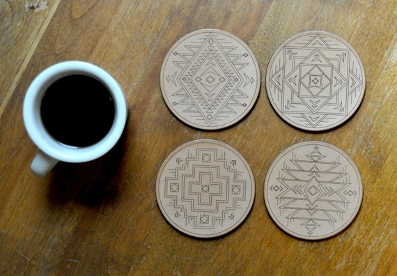 Native Print Leather Coasters / Set of 4 / Handcrafted in Portland, Oregon