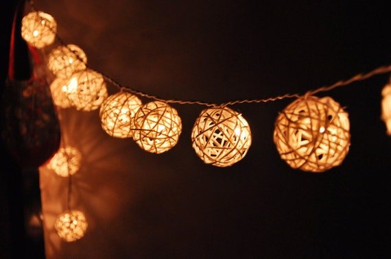 Red Rattan String Lights : 20 LED White Rattan ball string lights for Home