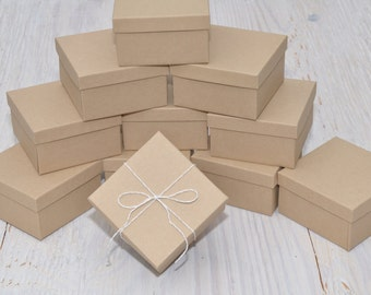 20 Pack 3.5x3.5x2 Deep Jewelry Favor Boxes Kraft Square with Cotton Fill