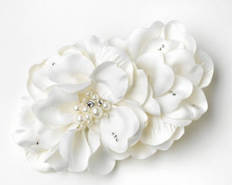 Ivory Matte Satin Flower Hair Clip with Pearl & Rhinestone Accents