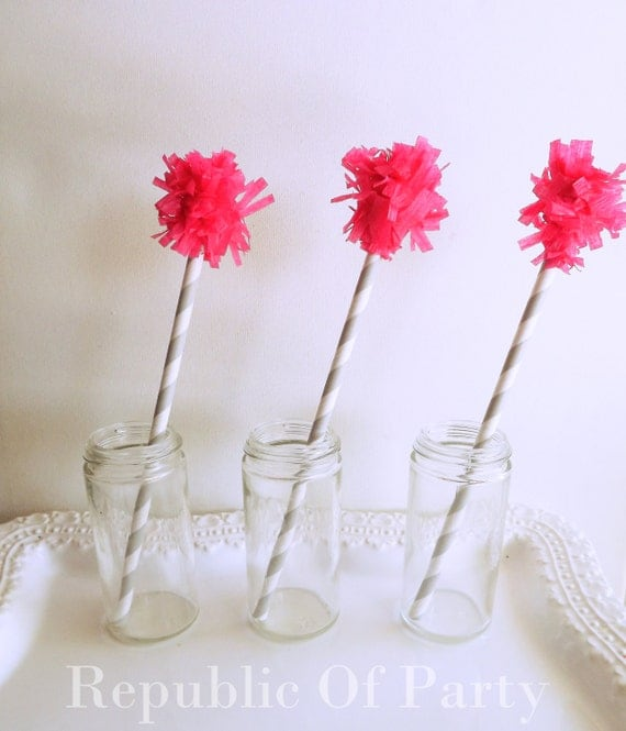 Pom Pom Drink Stirrers-Pink and Gray Set of 10 by RepublicOfParty