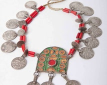 Original Berber necklace with rare pendant and coins 12th to 19th C