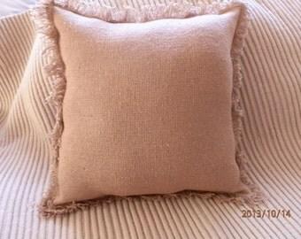 """Burlap Decorative Pillow with Fringes 12""""x 12"""""""