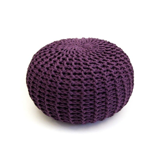 Large soft purple handmade knitted pouf