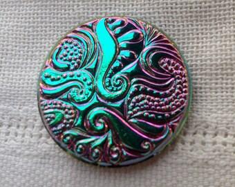 Iridescent Large Hand Painted Czech Glass Button - 32 mm - (1 1/4 Inch)