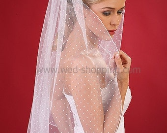 Dot tulle veil Polka dot Veils Dotted tulle Bridal Wedding White Ivory W1090A 80cm
