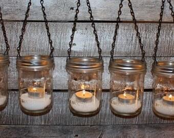 FREE SHIP 5 Garden Light Hanging Luminary DIY Mason Jar Lanterns-  Wide Mouth Black Chain Lids