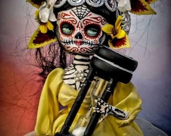 Beautiful Mortal Blonde Dia De Los Muertos Doll with Hourglass Canon PRINT 415 Reproduction