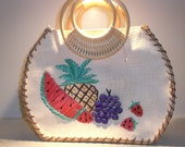 1960s Woman's 3D Vintage Straw Handcrafted fruit hand bag tote Purse - FearfullyMade139
