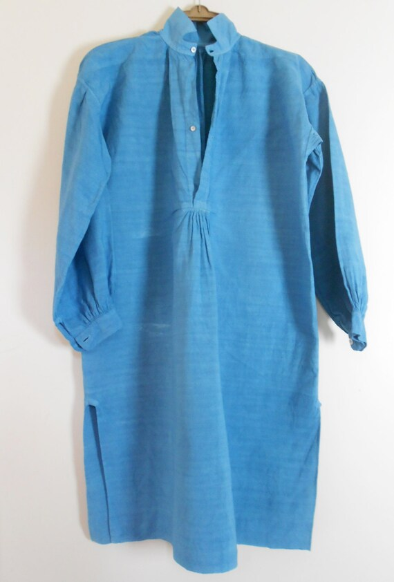 Teal antique linen shirt, French home made linen, distressed dye linen shirt. XXL