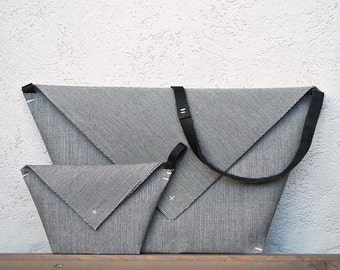 Minimal canvas envelope bag with detachable matching clutch, gray beige and yellow purse bag, origami double