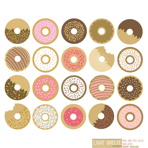 Donuts Digital Clipart & Vector Set - Instant Download - Personal and ...