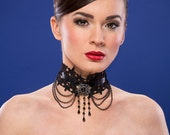Gothic Victorian Retro Vampire Lace Antique Silver Black Resin Stone Pendant and Beads Necklace Collar Choker