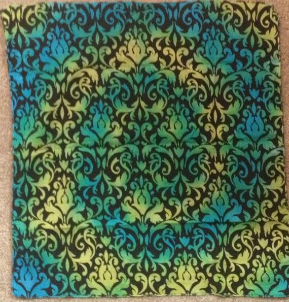 flower pattern tie dye bandana blue green yellow spiral by