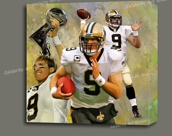 """Drew Brees MVP QB of New Orleans Saints Canvas Giclee, Acrylic Art W Gallery Wrap Ready To Hang Up To Size 36X36X1.5"""""""
