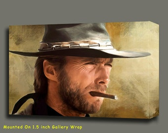 """Clint Eastwood Movie Portrait Canvas Giclee, Acrylic Art W Gallery Wrap Ready To Hang Up To Size 42X34X1.5"""""""