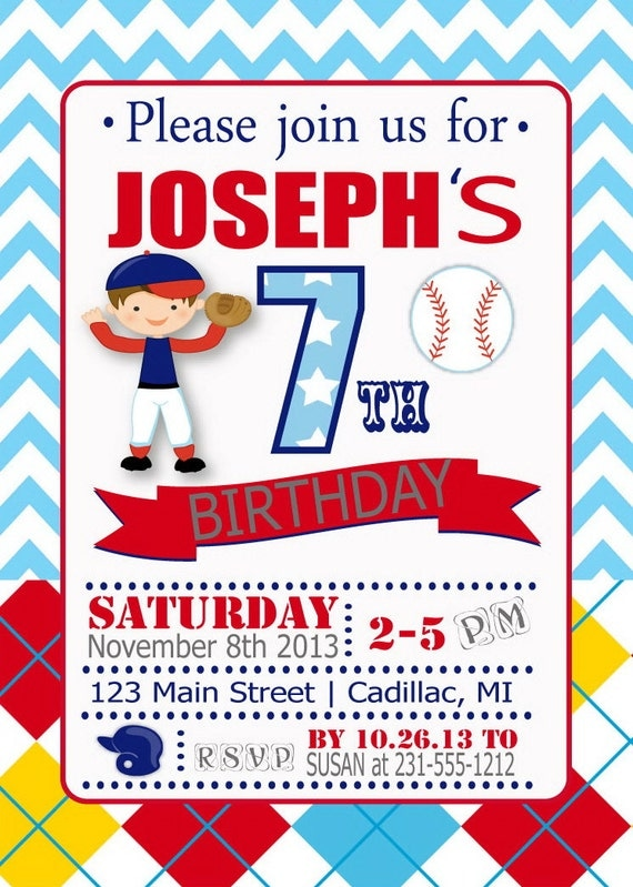 Baseball Birthday Invitation Boys Party By