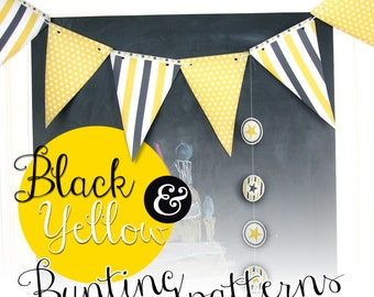 Black & Yellow paper bunting and cupcake patterns papercraft
