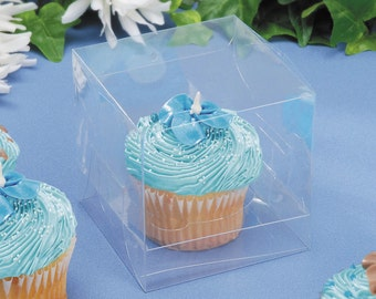 "12 Pc - 3-1/2"" Clear Cupcake Box with Clear Insert 12 Pieces per Package"