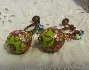 Gorgeous Venetian Wedding Cake Bead Earings Pale Green with Pink Roses Screw Back