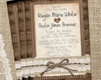 Rustic Burlap and Lace, Cute Wedding Invitation, Wood, Twine, Printable, Digital File, Personalized, 5x7,