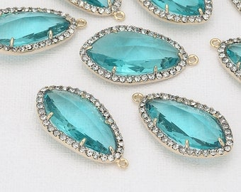 Blue Zircon Glass Pendant, Crystal Czech Stone.  Polished Gold -Plated - 2 Pieces [G0026-PGBZ]