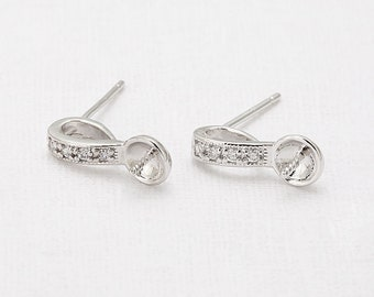 Cubic Note Post Earring(Pin) Polished Rhodium- Plated - 2 Pieces <E0124-PR>