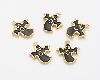Epoxy Black Ghost Brass Pendant Polished Gold-Plated - 2 Pieces [P0468-PGBK]