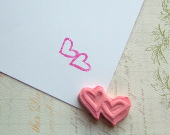 Two Hearts Hand Carved Rubber Stamp, Valentine's Day Stamp