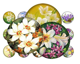 Retro flowers - Digital bottle caps images - 1'' circles for Jewelry Making, Digital Collage Sheets, BUY 2 GET 1 FREE