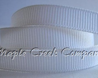 "5 yards White Grosgrain Ribbon, 4 Widths Available: 1 1/2"", 7/8"", 5/8"", 3/8"""