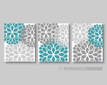 Gray Turquoise Dahlia Flower Print Trio - Home Petals Bloom Wall Art Bedroom Nursery Bathroom Decor. Flower Bathroom Art. Flower Art. NS257