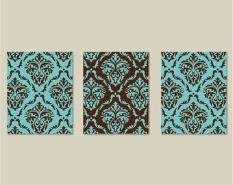 Brown and Teal Blue Damask  Print Trio. Bedroom Wall Decor. Home. Decor. Wall Art - Bedroom Art. Bedroom Decor. Living Room Decor.  (NS-150)