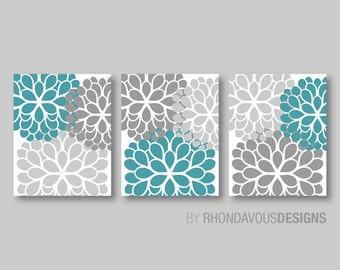 Turquoise dahlia etsy for Turquoise and grey bathroom accessories
