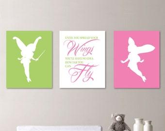 Baby Girl Nursery Art - Fairy Nursery Art - Fairy Nursery Decor - Fairy Bedroom Art - Fairy Bedroom Decor - Pink & Green   (NS-436)