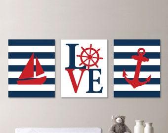 Baby Boy Nursery Art - Nautical Nursery Decor - Nautical Nursery Print -Nautical Nursery Art - Navy White Red - You Pick the Size 541