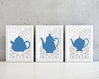 Kitchen Art. Teapot Kitchen Prints. Kitchen Decor. Teapot Decor. Teapot Art. Wall Art. Home Decor. Blue Teapot Prints. Wall Decor (NS-41)