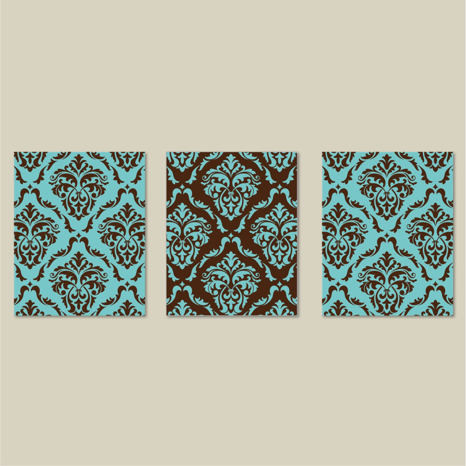 brown and teal blue damask print trio bedroom wall decor. Black Bedroom Furniture Sets. Home Design Ideas
