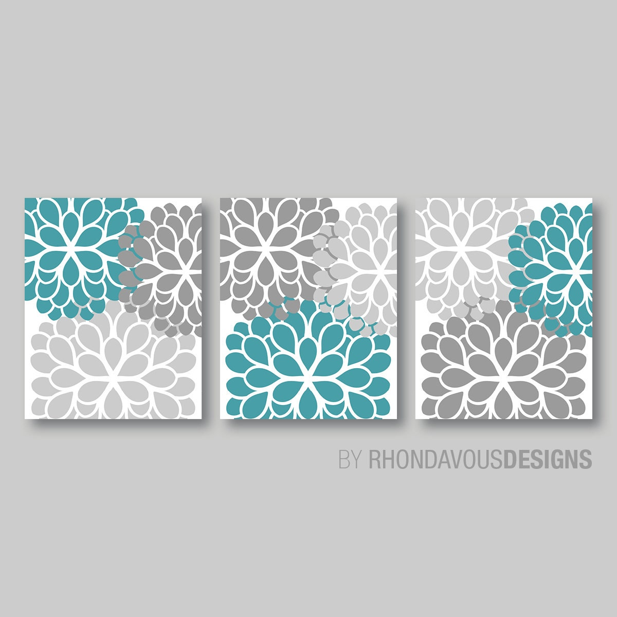 Gray turquoise dahlia flower print trio home petals bloom for Turquoise and grey bathroom accessories