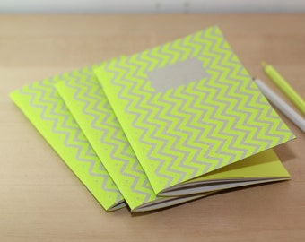Lot 3 notebooks Zig Zag - paper recycled & fluorescent