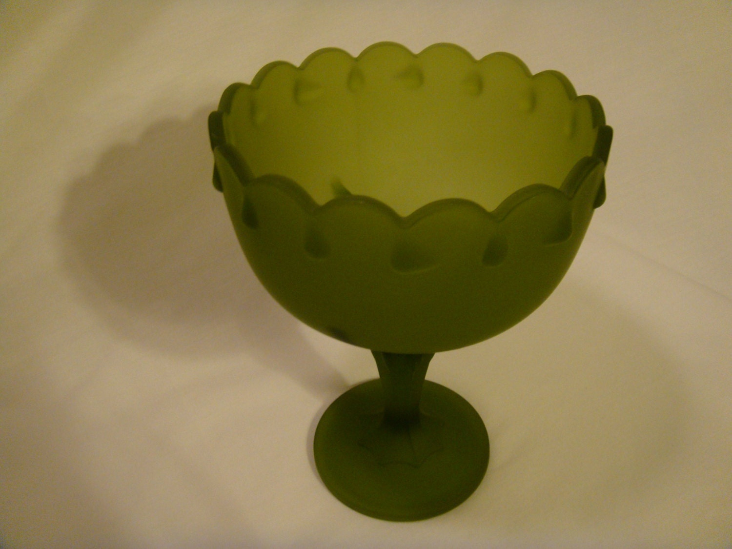 Green glass dish rustic christmas candy by