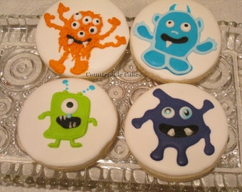 Monster Decorated Sugar Cookies (3 inch) -1 dozen