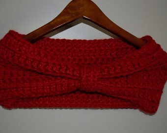 Crochet Red Cinched Cowl FREE SHIPPING in USA
