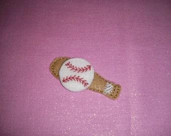 Set of Baseball and Bat Baseballs Feltie Felt Embellishment Bow! Felties Applique Party