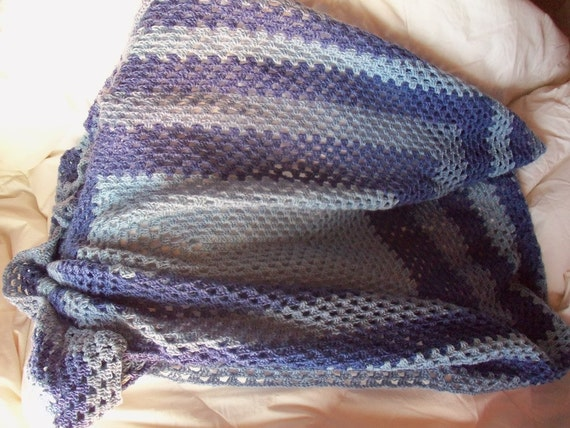Afghan Crocheted Striped Granny Stitch Light Med Dark Striped
