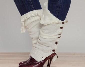 off-white Slouchy Button Down leg warmers w/ Ivory Knit Lace - shark tank Legwarmers